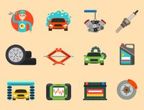 Auto car repair service symbols isolated shop worker maintenance transportation automotive mechanic vector illustration. Stock Photos