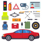 Auto car repair service symbols isolated shop worker maintenance transportation automotive mechanic vector illustration. Royalty Free Stock Photo