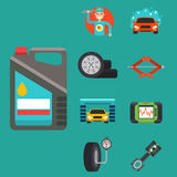 Auto car repair service symbols isolated shop worker maintenance transportation automotive mechanic vector illustration. Stock Photo