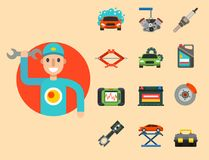 Auto car repair service symbols  shop worker maintenance transportation automotive mechanic vector illustration. Stock Photo