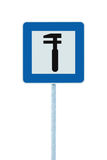 Auto Car Repair Shop Icon, Vehicle Mechanic Fix Service Garage Road Traffic Sign Roadside Pole Post Signage, Isolated. Auto Car Repair Shop Icon, Vehicle Stock Photo