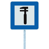 Auto Car Repair Shop Icon, Vehicle Mechanic Fix Service Garage Road Traffic Sign Roadside Pole Post Signage, Isolated Stock Images