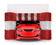 Auto in car wash. Red auto in car wash. 3d illustration vector illustration