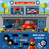 Auto Centers And Carwash Horizontal Banners. With tire service and mechanical works replacing wheels isolated vector illustration stock illustration