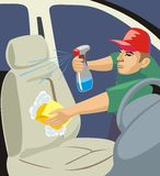 Auto chair wash. Vector image of washer clean car chair Royalty Free Stock Photography