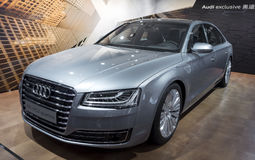Auto China 2016. AUDI A8L W12 quattro limousine in 2016 Beijing International Automotive Exhibition, in May,Beijing city, China Royalty Free Stock Photo