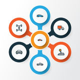 Auto Colorful Outline Icons Set. Collection Of Automobile Royalty Free Stock Photo