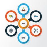 Auto Colorful Outline Icons Set. Collection Of Car, Track, Drive And Other Elements. Also Includes Symbols Such As Van. Auto Colorful Outline Icons Set Royalty Free Illustration