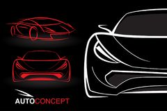Auto concept vehicle designs with model style sketch sports cars Stock Photography