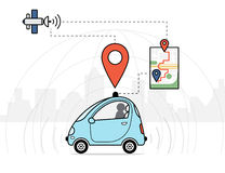 Auto-conduzindo a ilustração infographic do carro ilustração do vetor