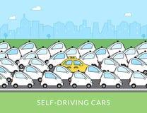 Auto-conduzindo a ilustração infographic do carro ilustração royalty free