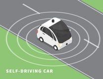 Auto-conduzindo o ícone preto do carro ilustração royalty free