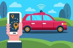 Auto-conduzindo o carro e a mão com o telefone ilustração do vetor