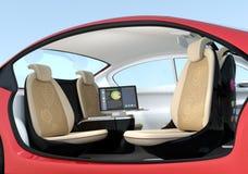 Auto-conduzindo o conceito do interior do carro Fotos de Stock