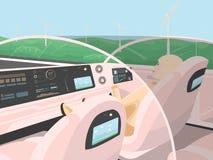 Auto-conduzir o carro bonde vai com passageiro de relaxamento Fotos de Stock