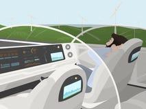 Auto-conduzir o carro bonde vai com passageiro de relaxamento Carro inteligente autônomo com telhado de vidro Homem feliz que sen Imagens de Stock