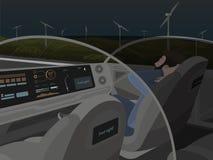 Auto-conduzir o carro bonde vai com passageiro de sono Fotografia de Stock