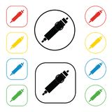 Auto connector signs set, on colored circles,  on white. A set of coloured 8 icon. Flat design illustration.12 V cigarette. Lighter automobiles connector sign Stock Photography