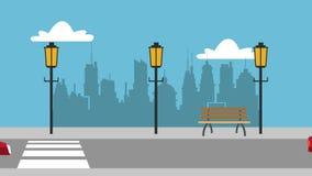 Auto, das durch Animation der Stadt HD überschreitet stock abbildung