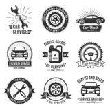 Auto de Diensten Zwarte Witte Emblemen stock illustratie