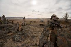 Auto in de woestijn Stock Foto's