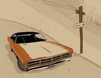 Auto in de woestijn Royalty-vrije Stock Afbeeldingen