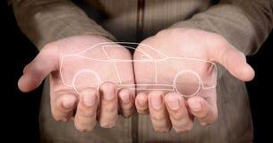 Auto in den Händen Lizenzfreies Stockbild