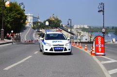 Auto der Polizei Verkehrspolizei Tyumen, Russland Stockfotos