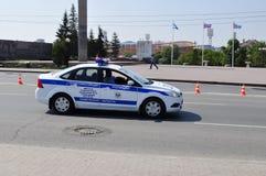 Auto der Polizei Verkehrspolizei Tyumen, Russland Lizenzfreie Stockfotos