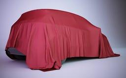 Auto der Wiedergabe 3d bedeckt mit rotem Samt Lizenzfreie Stockbilder
