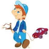 Auto des frechen Jungen und des Spielzeugs Lizenzfreies Stockbild