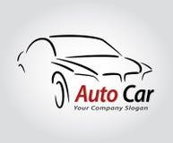 Auto design för stilbillogo med silh för symbol för begreppssportmedel Fotografering för Bildbyråer