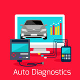Auto Diagnostics Monitor Flat Concept Stock Photography