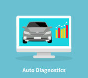 Auto Diagnostics Monitor Flat Concept Royalty Free Stock Photography