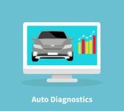 Auto Diagnostics Monitor Flat Concept Royalty Free Stock Photography
