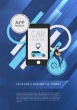 Auto die de dienst reclameWeb-pagina malplaatje delen royalty-vrije stock afbeeldingen