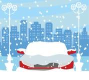 Auto die in de sneeuw wordt geplakt vector illustratie