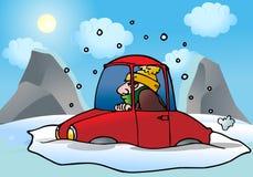 Auto die in de sneeuw wordt geplakt royalty-vrije illustratie