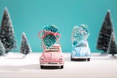 Auto die een Kerstboom in miniatuur altijdgroen bos dragen stock foto