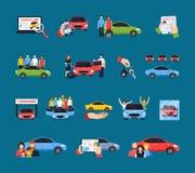 Auto die Geplaatste Pictogrammen delen stock illustratie