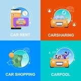 Auto die, Huur, Carpool, de Carsharingsdienst winkelen royalty-vrije illustratie