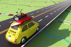 Auto die met bagage op de weg aan de zomervakantie wordt geladen het 3d teruggeven Stock Foto