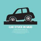 Auto die in Modder wordt geplakt stock illustratie