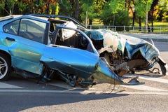 Auto die na ongeval wordt vernietigd Royalty-vrije Stock Foto's