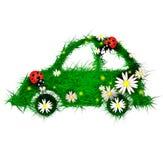 Auto die van gras en bloemen wordt gemaakt Royalty-vrije Stock Foto