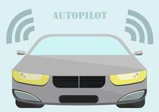 Auto die zich zonder een Bestuurder met Tekstautomatische piloot bewegen Stock Foto