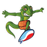 Surfing Lizard Mascot Royalty Free Stock Images
