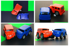 Auto Driver Safety Education Anatomy of Car Crash. Auto driver safety education course anatomy demonstration of a car crash with toy cars at a road intersection stock image