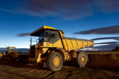 Auto-dump Yellow Mining Truck Night Excavator Royalty Free Stock Photography