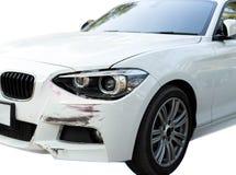 Auto een ongeval met hoofd lichte schade stock afbeelding